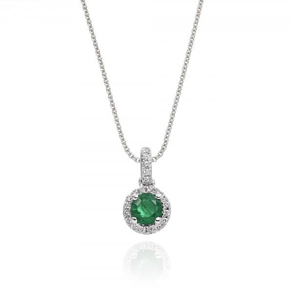 0.25ct Emerald Pendant Necklace 0.07ct Diamond 18K White Gold