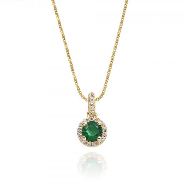 0.25ct Emerald Pendant Necklace 0.07ct Diamond 18K Yellow Gold