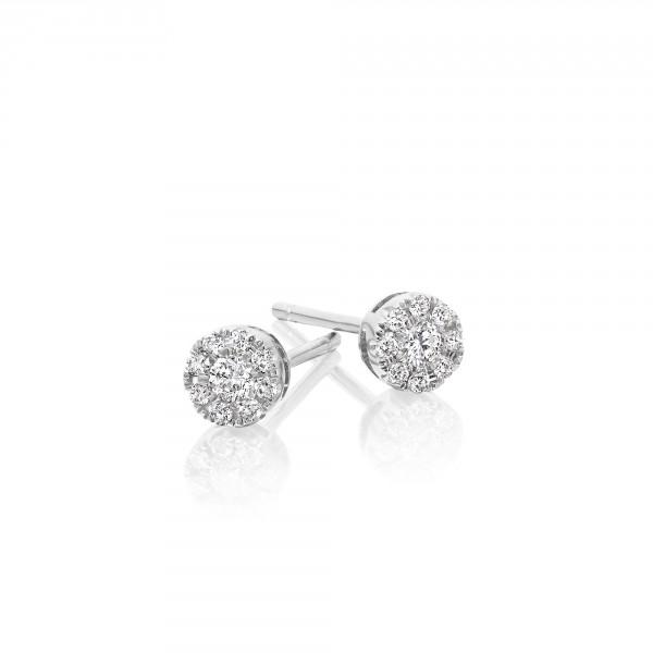 Sparkle Diamond Cluster Earrings 0.20ct Studs 18K White Gold