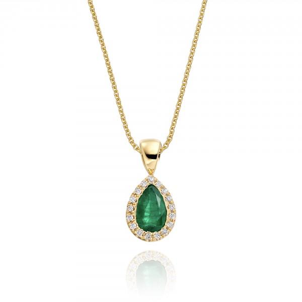 0.38ct Emerald Pendant Necklace 0.05ct Diamond 18K Yellow Gold